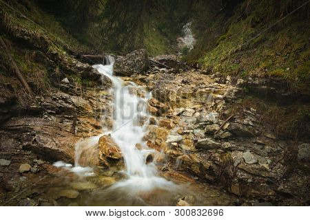 Nature Rainforest River Cascade. Stream In Forest Nature. Green Forest Stream. Nature. Stream. Natur