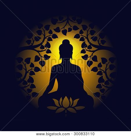 Buddha Sit Under Bodhi Tree And Lotus Sign On Circle Yellow Light And Dark Background Vector Design