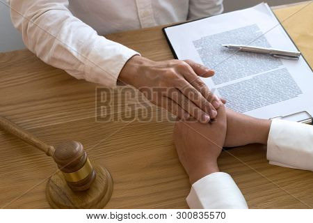 Lawyer Touch And Respect Clients To Trust Partnership.trust Promise Concept.