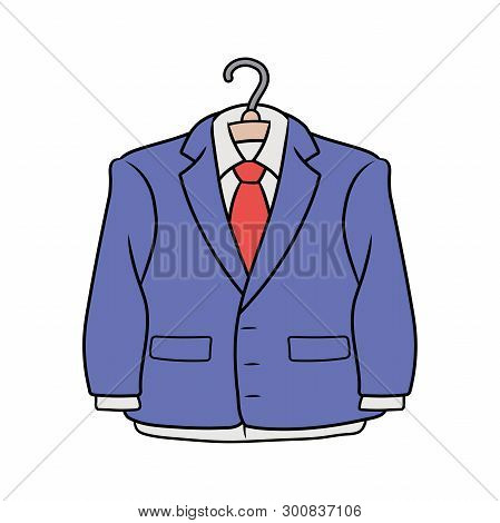 Illustration Of A Blue Formal Suit On A White Background