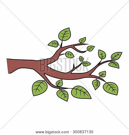 Illustration Of A Branch With Leaves On A White Background