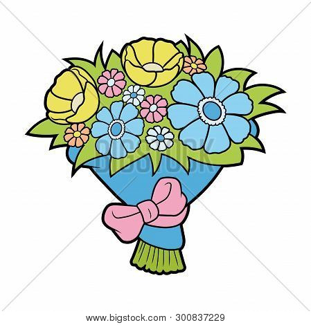 Illustration Of A Bunch Of Flowers On A White Background