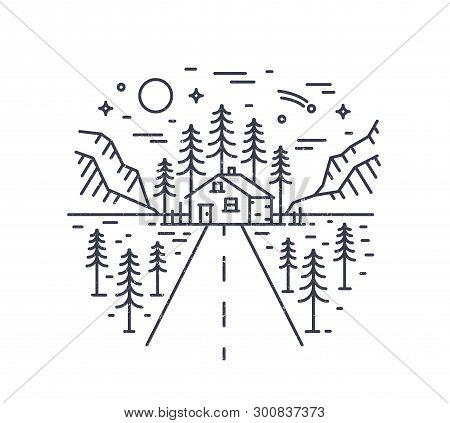 Round Composition With Highway Leading To Lodge, House Or Hut In Woodland Surrounded By Spruce Trees