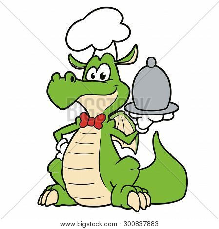 Illustration Of A Cute Dragon Chef On A White Background 2