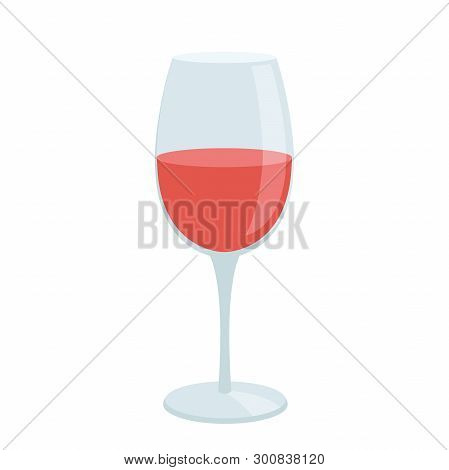 Illustration Of A Glass Of Wine Flat Icon On A White Background
