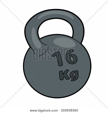 Illustration Of A Heavy Iron Kettlebell On A White Background