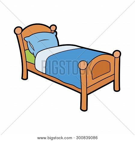Illustration Of A Wooden Bed With A Pillow On A White Background