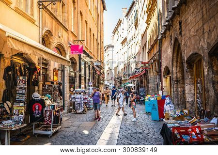 2 August 2018, Lyon France : Tourists In The Street Of Vieux Lyon Old Town On Summer Day In Lyon Fra