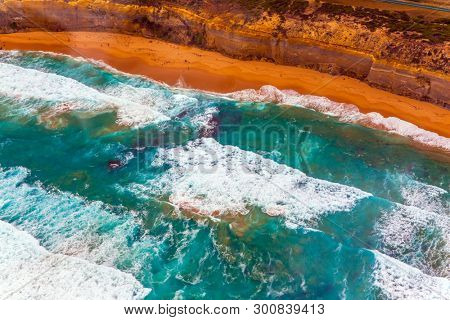 Australia. Picturesque shoreline. The Great Ocean Road goes along the Pacific coast. The picture was taken from the helicopter. The concept of extreme and active tourism