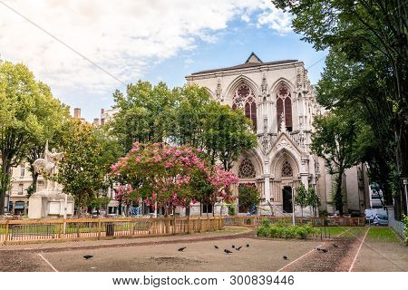 Public Billon Park In Sixth District Of Lyon And View Of The Redemption Church In Lyon France