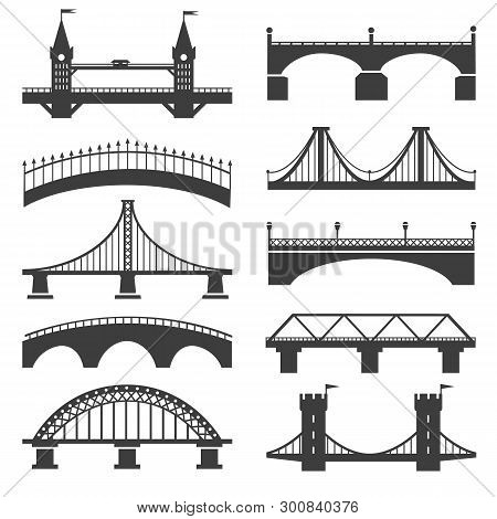 Bridge Icons. Bridges Vector Silhouettes With Pillars And Bridging Towers, Concrete Promenade And Mo