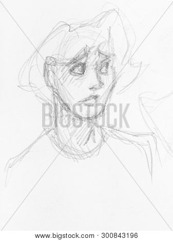 Sketch Of Head Of Teenager With Incredulous Face Hand-drawn By Black Pencil On White Paper
