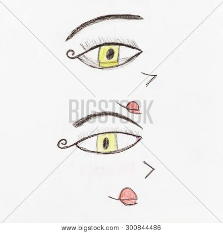 Pair Of Decorative Human Yellow Eyes Hand-drawn By Colour Pencils On White Paper