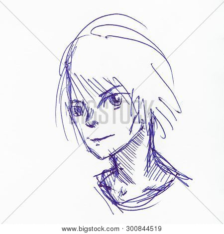 Sketch Of Teenager In Anime Style Hand-drawn By Blue Ink On White Paper