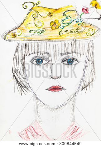 Portrait Of Girl With Blue Eyes In Yellow Hat Hand-drawn By Colour Pencils On White Paper