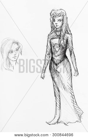 Sketch Of Girl In Elf Cosplay Suit And His Head Hand-drawn By Black Pencil And Ink On White Backgrou