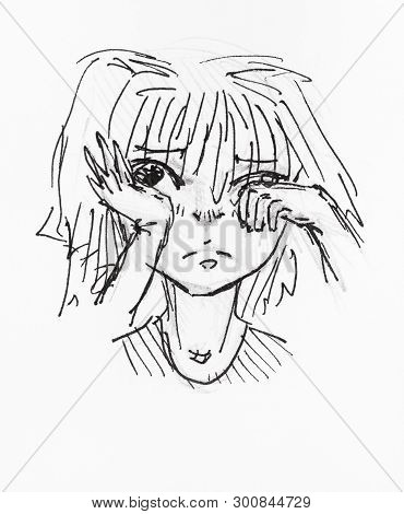 Sketch Of Little Girl Who Rubs An Eye With Her Hand Hand-drawn By Black Pencil And Ink On White Pape