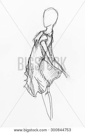 Sketch Of Female Figure In Billowing Dress Hand-drawn By Black Pencil And Ink On White Paper