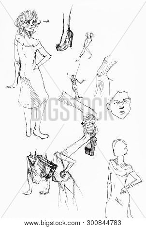 Sketches Of Female Figures, Hands, Legs Hand-drawn By Black Ink On White Paper