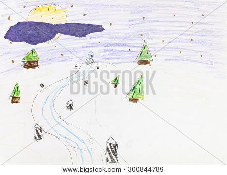 Road In Snowfield Between Fir Trees In Winter Night Hand-drawn By Colour Pencils On White Paper