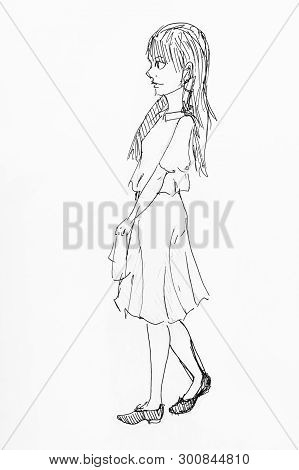 Sketch Of Girl In Strict Dress Hand-drawn By Black Ink On White Paper