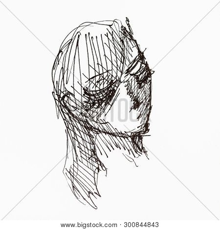 Hatched Sketch Of Female Head Hand-drawn By Black Inks On White Paper