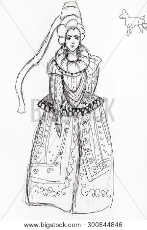 Portrait Of Lady In Magnificent Medieval Dress Hand-drawn By Black Ink On White Paper