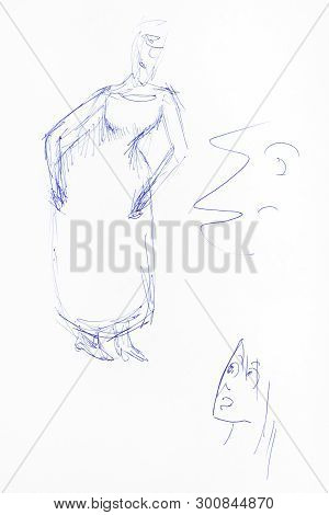 Sketch Of Grandmother Figure And Surprised Girl Face Hand-drawn By Blue Ink On White Paper