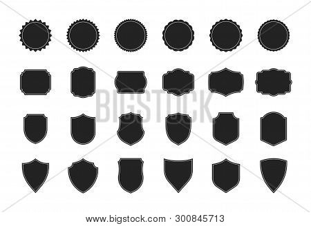 Big Shields Collection. Black Silhouette Shield Shape, Black Label. Vintage Or Retro Shields Set. Ve