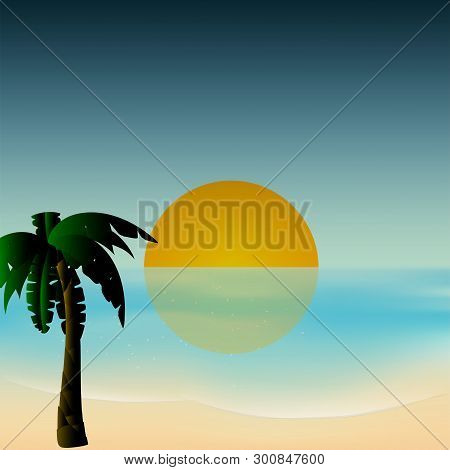 Serene Scene Of Sunset Over Tropical Sea With Palm Tree And Shore