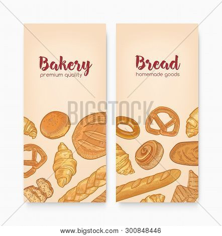 Set Of Vertical Banner Templates With Tasty Breads, Sweet Delicious Pastry Or Homemade Baked Product