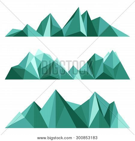 Green Mountains In Low Poly Style. Polygonal Mountain Ridges. Set Of Geometric Design Elements For O
