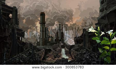 Dark Background Of Post-apocalyptic Industrial Ruins With A Sprouted Green Plant