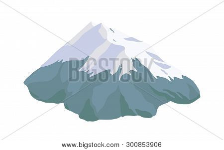 Mountain Peak, Top Or Summit Covered With Snow, Ice Or Glacier Isolated On White Background. Rocky C