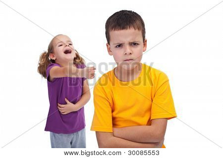 School bully and mockery concept with laughing girl and upset boy