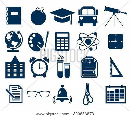 Simple School Icons Set. Universal School Icon To Use For Web And Mobile Ui, Set Of Basic School Ele