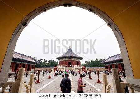 Beijing, China - May 26, 2018: View Of Traveler Walking To Sea Around Imperial Vault Of Heaven, Huan
