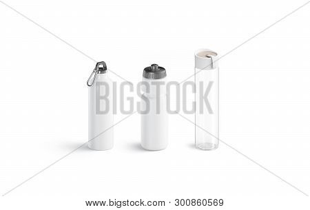 Blank White Glass Sport Bottle Mockup, Isolated, Side View, 3d Rendering. Empty Transparent Containe