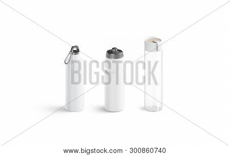 Blank White Sport Bottles Types Set Mockups, Isolated, Side View, 3d Rendering. Empty Transparent Co