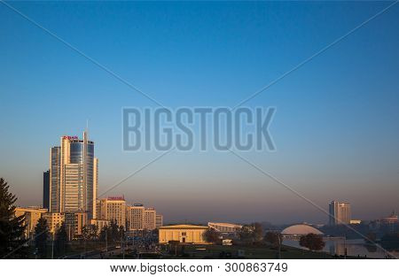 Belarus, Minsk, 10-19-2018; Early Morning View Of The City Of Minsk Against The Background Of The Ro
