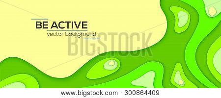Dynamic Papercut 3d Background. Abstract Multi Layered Paper Shapes Cutted From Paper. Liquid Wavy F