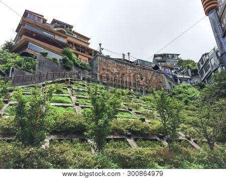 Jiufen, Taiwan -  July 6, 2015: View Of Jiufen Old Town Village, Also Spelled Jioufen Or Chiufen, A