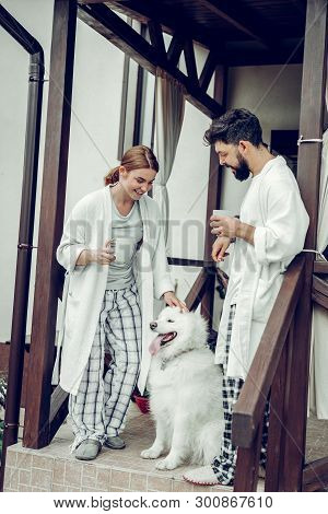 Beautiful Smiling Beaming Contended Couple Petting A Beautiful White Dog