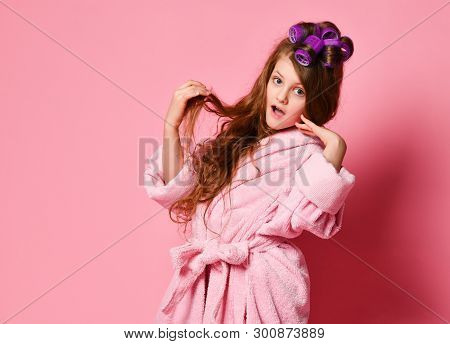 Young Lady Or Teen Girl In Spa Salon Is Surprised Or Frightened With Her Hair Style Condition. Acts