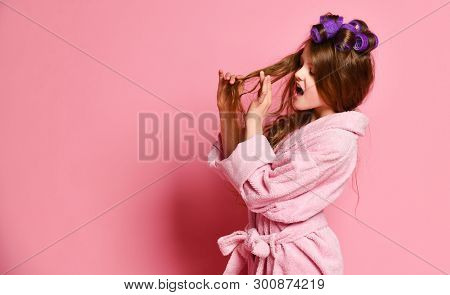 Picky Young Lady Or Teen Girl In Spa Salon Is Frightened With Her Hair Style Condition Or Something