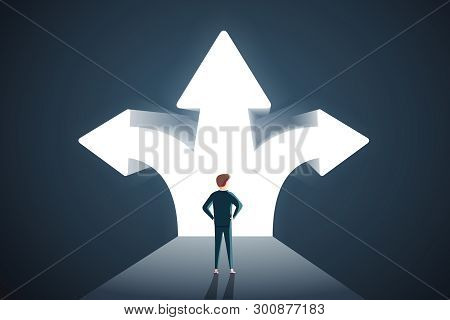 Business Decisions Concept. Vector Of A Perplexed Businessman With Question Mark Standing In Front O