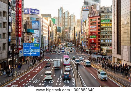Tokyo, Japan - March 11: View Of The Bustling Kushu Avenue In Shinjuku At Sunset March 11, 2019 In T