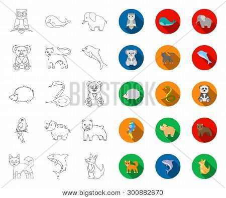 An Unrealistic Animal Outline, Flat Icons In Set Collection For Design. Toy Animals Vector Symbol St