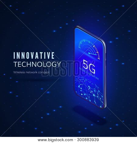 5g Network Innovation Technology Banner. Wireless Systems And Internet. Communication Network. Mobil