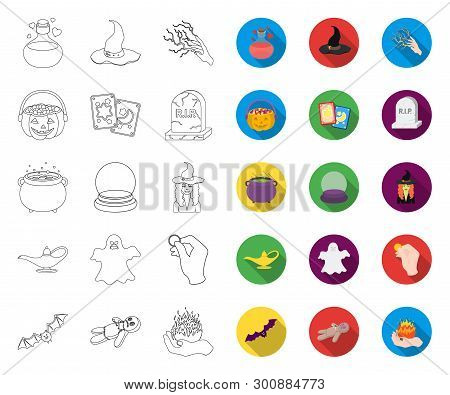 Outline, Flat And White Magic Outline, Flat Icons In Set Collection For Design. Attributes And Sorce